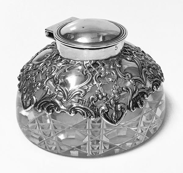 Antique Silver Inkwell Paperweight Birmingham 1900 H. Matthews