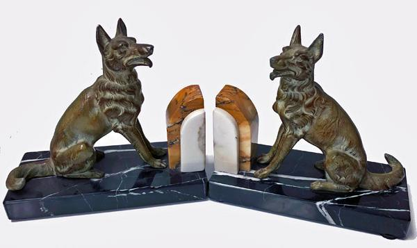 Pair Art Deco patinated Bronze Dog Bookends, France C.1930