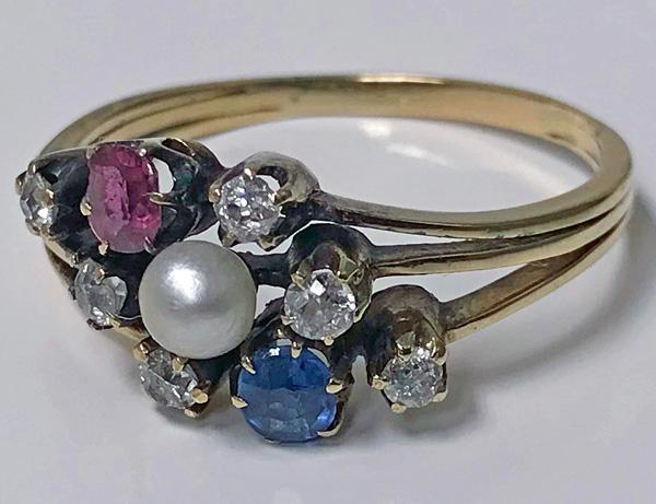 Antique Sapphire Ruby Diamond Pearl 14K cluster Ring, C.1900.