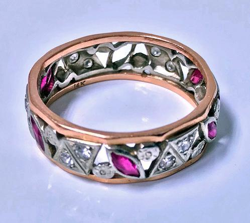 1920's Ruby and Diamond 14K pink and white gold Ring.