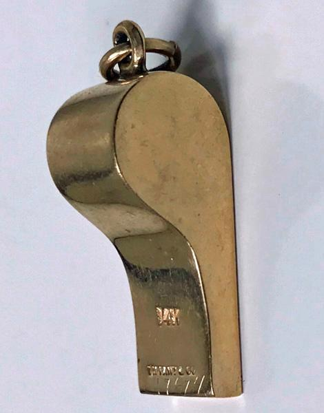 1930's Tiffany & Co. Solid 14K Yellow Gold Whistle Charm Necklace Pendant