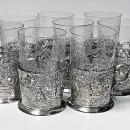 Set 8 Silver Tea Holders with engraved glasses, Germany C.1900