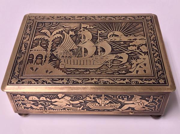 Art Deco Brass Jewellery Box, Germany C.1920