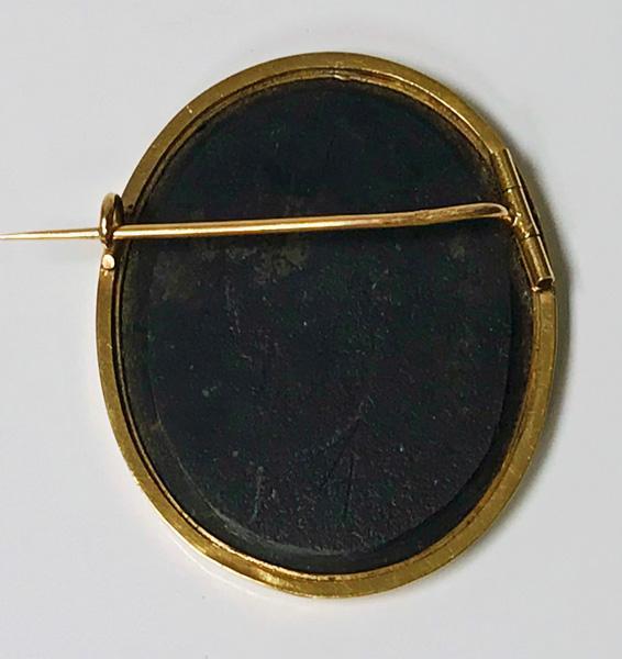 Antique 18K Gold Pietra Dura Brooch, Italy C.1875