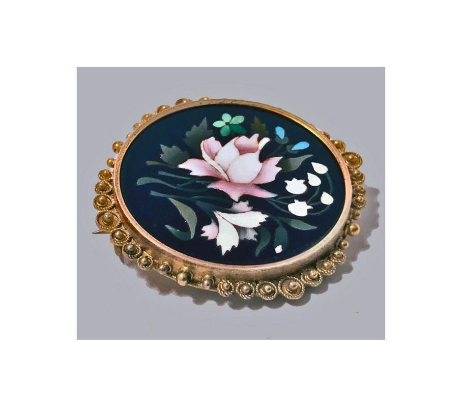 Fine Gold Pietra Dura Brooch Pin, Italy C.1875