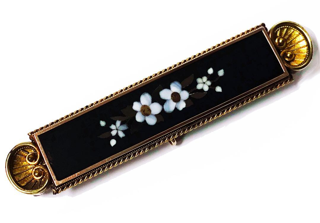 Antique Gold Pietra Dura Brooch Pin, Italy C.1875