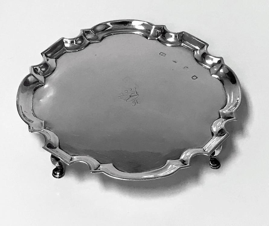 Georgian Silver Salver London 1732 Richard Burcombe