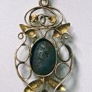 Liberty W.H Haseler Gold Turquoise Arts and Crafts Art Nouveau Pendant