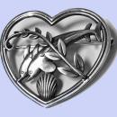 Georg Jensen Sterling Silver Dolphin Heart Brooch C.1930.
