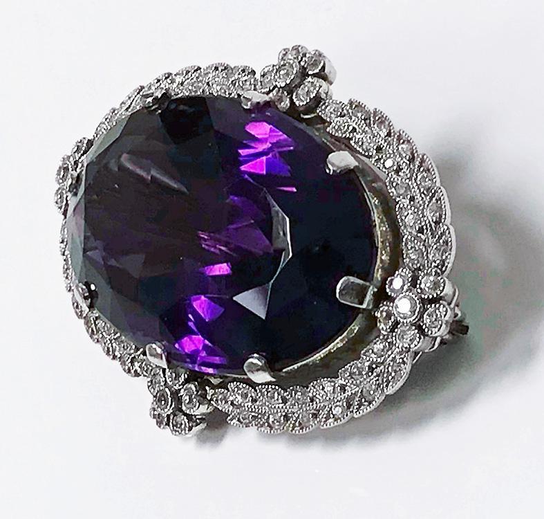 Antique Platinum Amethyst Diamond Brooch Pendant, English C.1910