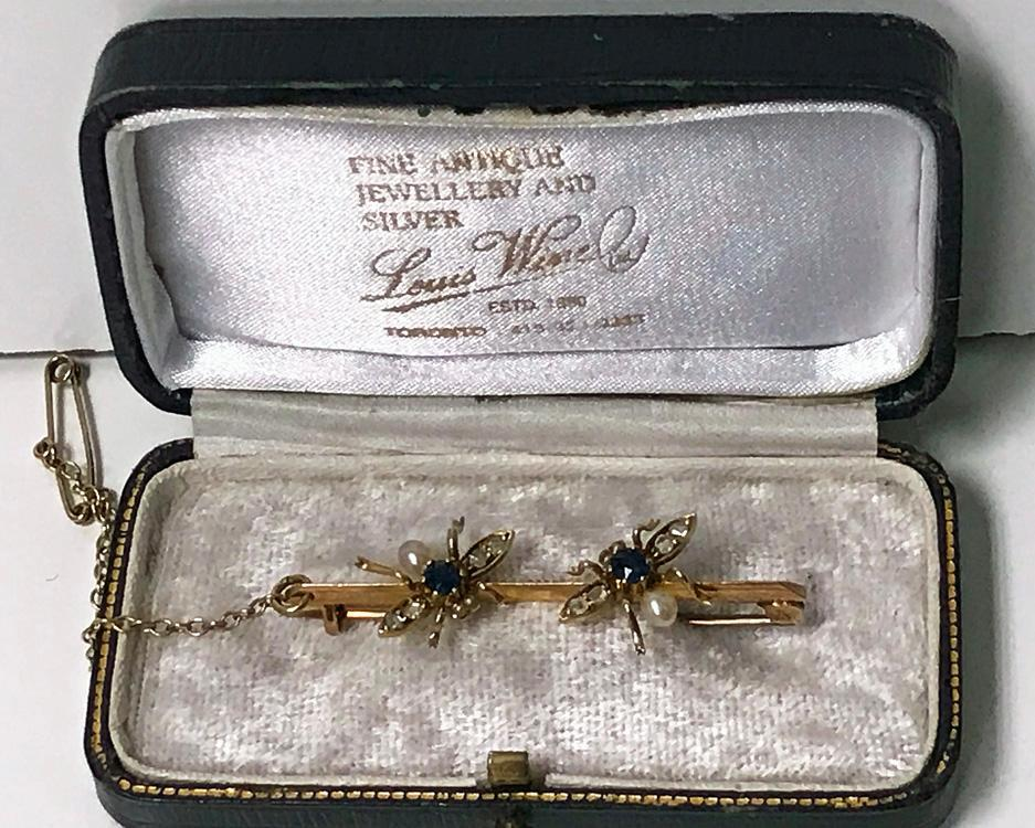 Antique Gold Sapphire Diamond Pearl Fly Bee Brooch, English C.1900.