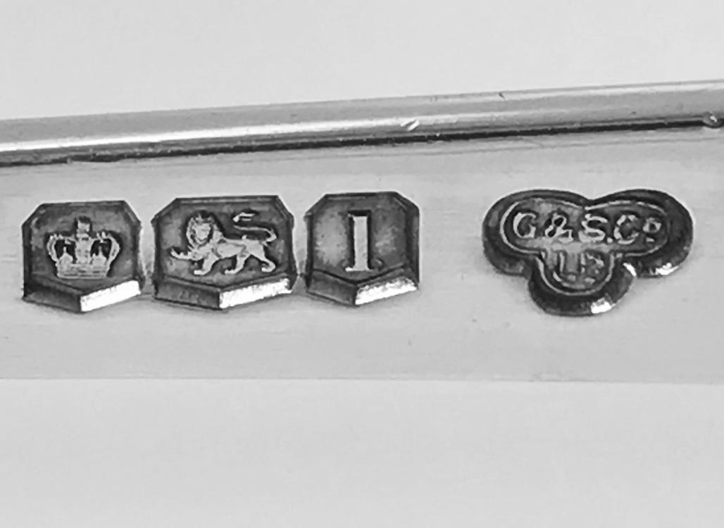 English Silver Asparagus Tongs Goldsmiths Silversmiths Co 1928