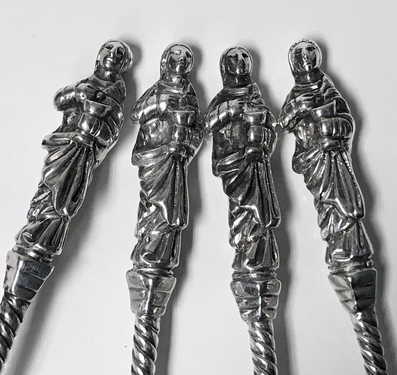 Set of four Antique Silver apostle spoons Edward Hutton London 1888
