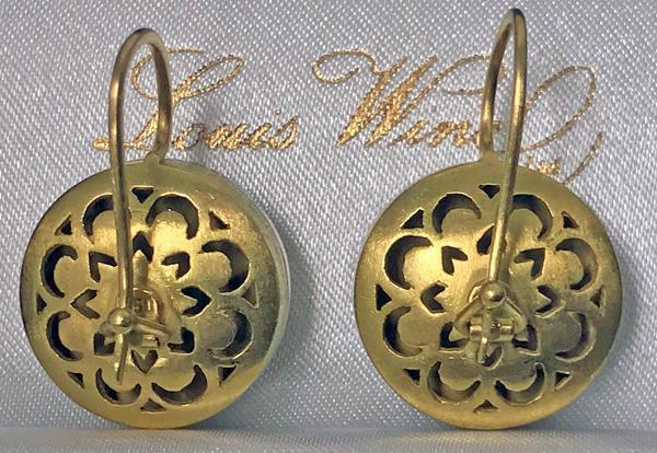 Gold Diamond Enamel Earrings, 20th century