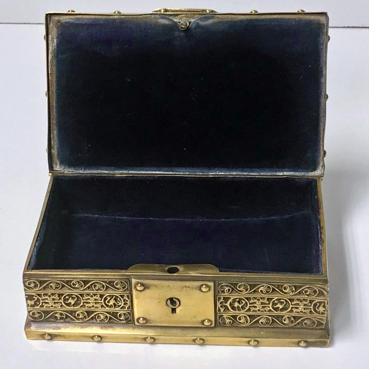 Art Nouveau Brass Jewellery Box, Germany C.1920 probably Erhard & Söhne
