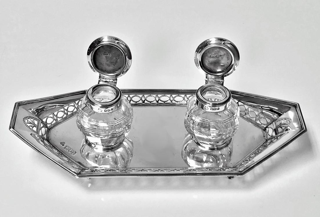 Antique English Silver and Enamel Inkstand hallmarked 1910-11