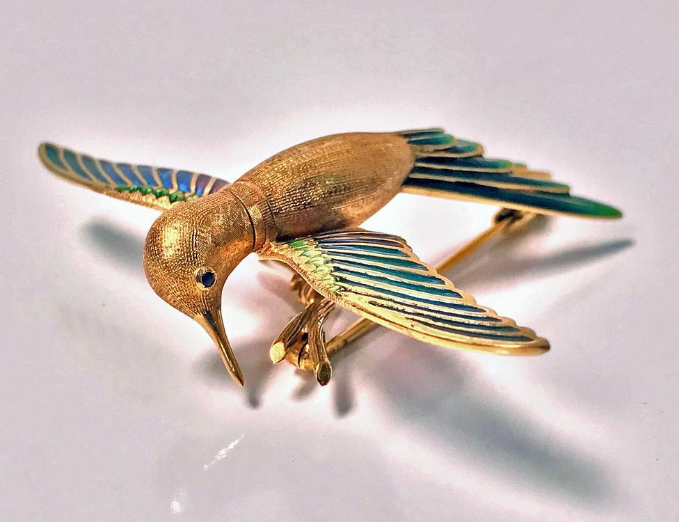 18K Enamel Humming Bird Brooch