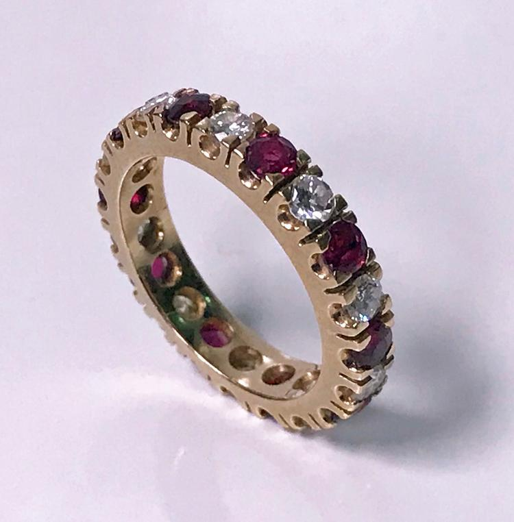 Ruby and Diamond Eternity Ring 14K Gold