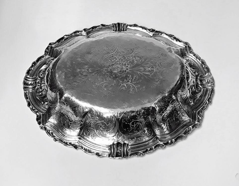 Antique Austrian Silver large Fruit Serving Dish, Vienna C.1890.