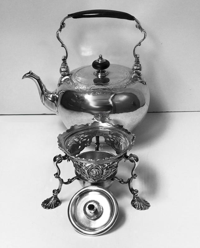 George 11 Silver Kettle on Stand London 1736 Richard Gurney and Thomas Cook