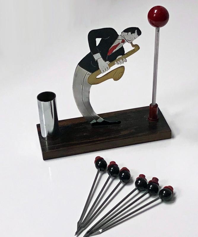 Rare French Art Deco Jazz Musician Bar Cocktail Sticks Set C.1920