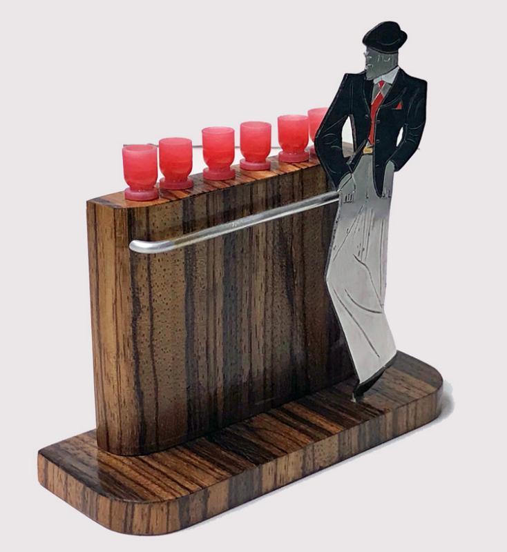 Rare French Art Deco Gentleman at Bar Cocktail Sticks Set C.1920