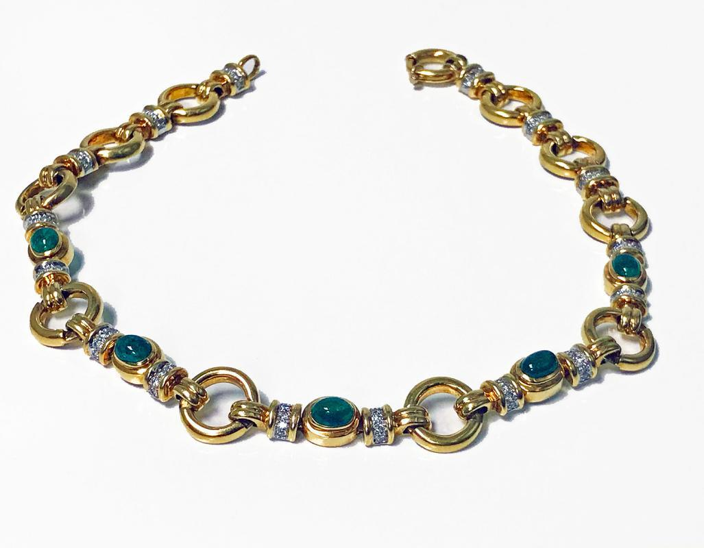 18K yellow gold Emerald and Diamond Necklace