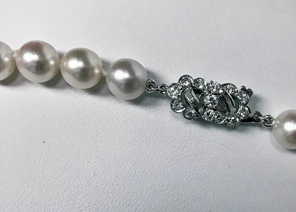 Cultured Pearl Necklace with Diamond clasp.