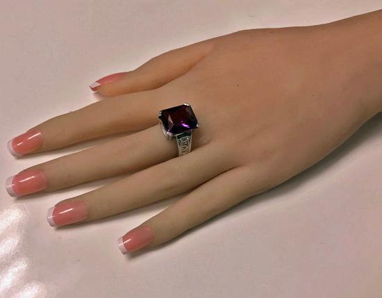 Gold Amethyst Diamond Ring, 20th century