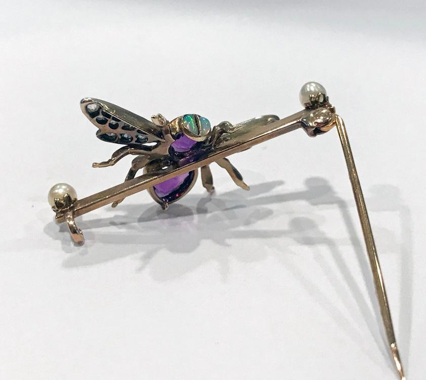 Antique Gem Gold Fly Bee Brooch, English C.1900 Suffragette