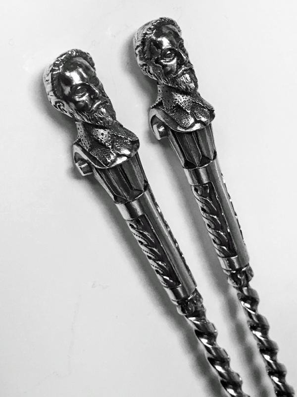 Rare Sir Walter Raleigh Antique Silver Servers Newcastle 1882 Christian Reid