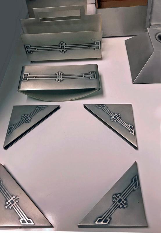 American Art Deco Desk Set Heintz Art Metal Shop