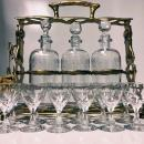 Art Nouveau French Gilded Bronze Tantalus and Liqueur Set