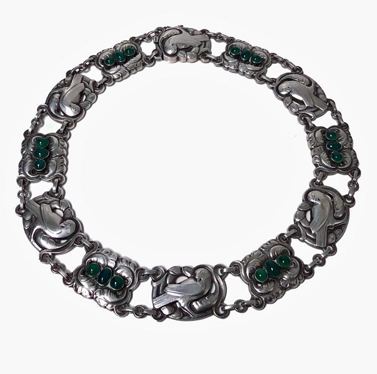 Georg Jensen Sterling Silver Chrysoprase Dove Necklace No 17