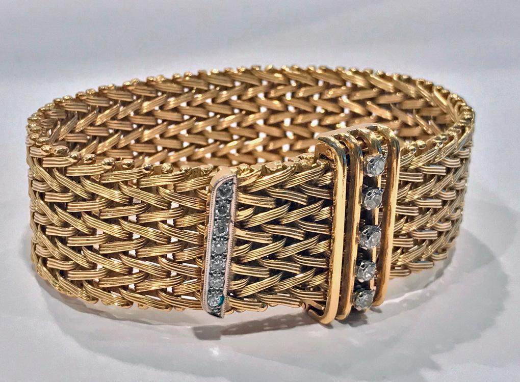 1970's 18K Diamond adjustable Bracelet