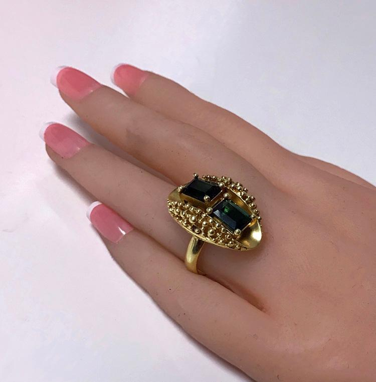 1970's 18K Abstract Tourmaline Ring