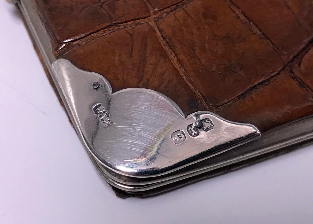 Antique Silver leather wallet purse holder Birmingham 1897