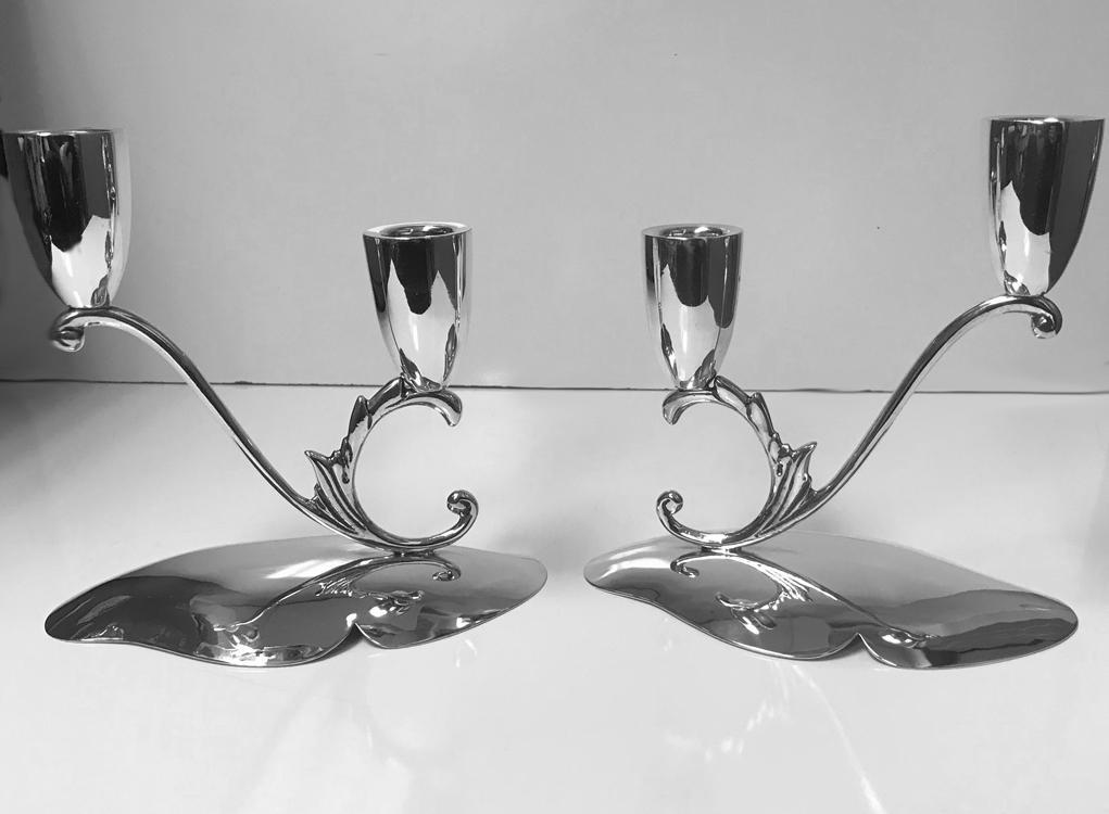 1950's Pair Mid Century Mexican Sterling Candlesticks Reyes.