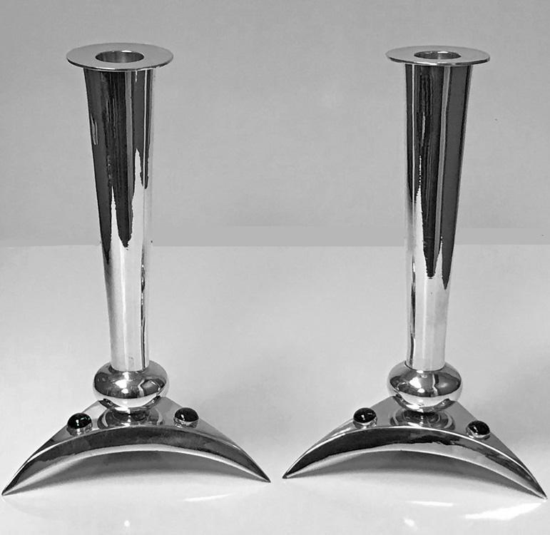 Pair of Mid Century Modernist Lapis Lazuli and Silvered Candlesticks C.1970