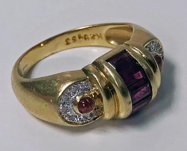 Gold Ruby and Diamond Ring 1980's