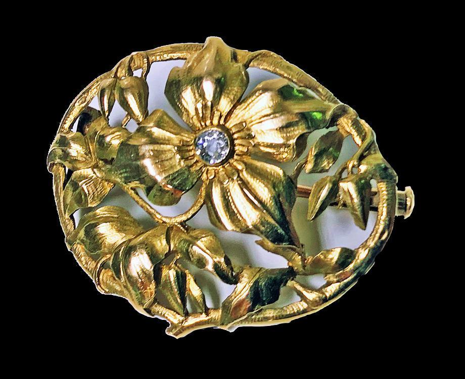Art Nouveau 18K Diamond Brooch C.1900