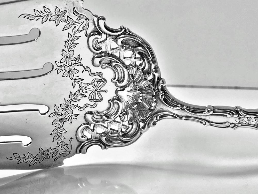 Durgin Gorham Fancy Regent Sterling Silver Asparagus Fork. C.1910