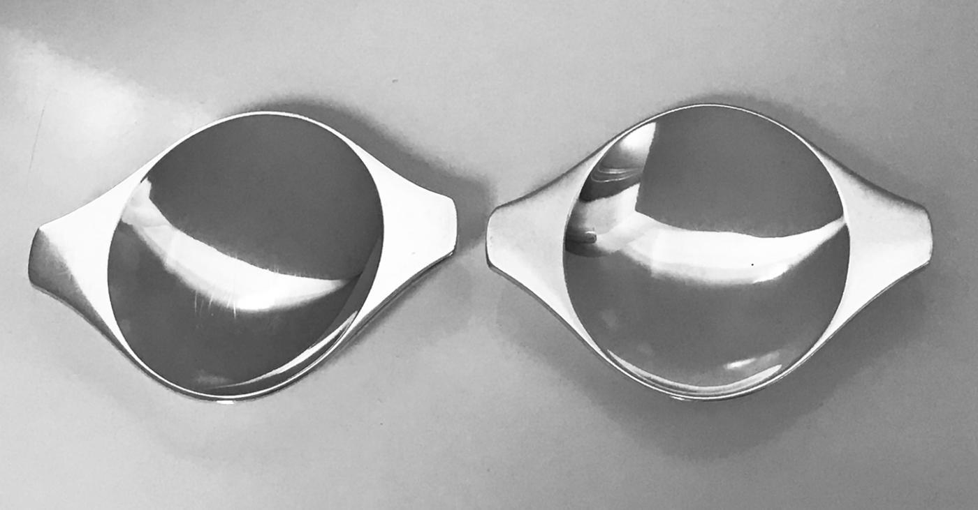 Pair Georg Jensen Henning Koppel Danish Sterling Dishes