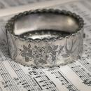 Victorian silver aesthetic bangle, wide, swallow