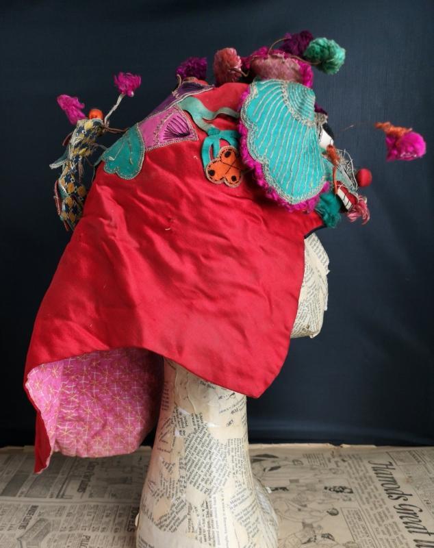Antique Chinese silk festival hat, koi carp