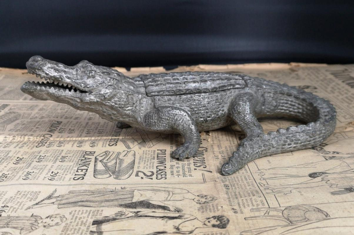 Antique spelter crocodile inkwell