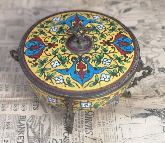 Antique French Champleve enamel and gilt bronze box