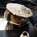 Antique Russian powder flask, silver plated