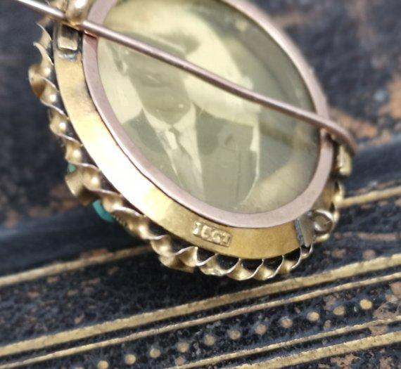 Victorian 15k gold, turquoise and diamond locket brooch
