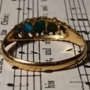 Antique 18k gold and turquoise ring, boxed